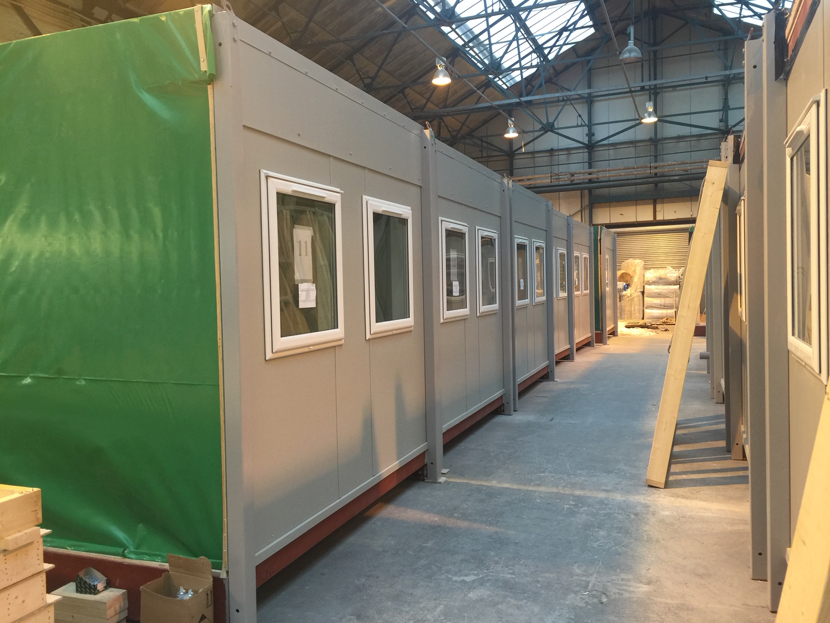 Modular building in the factory awaiting transport