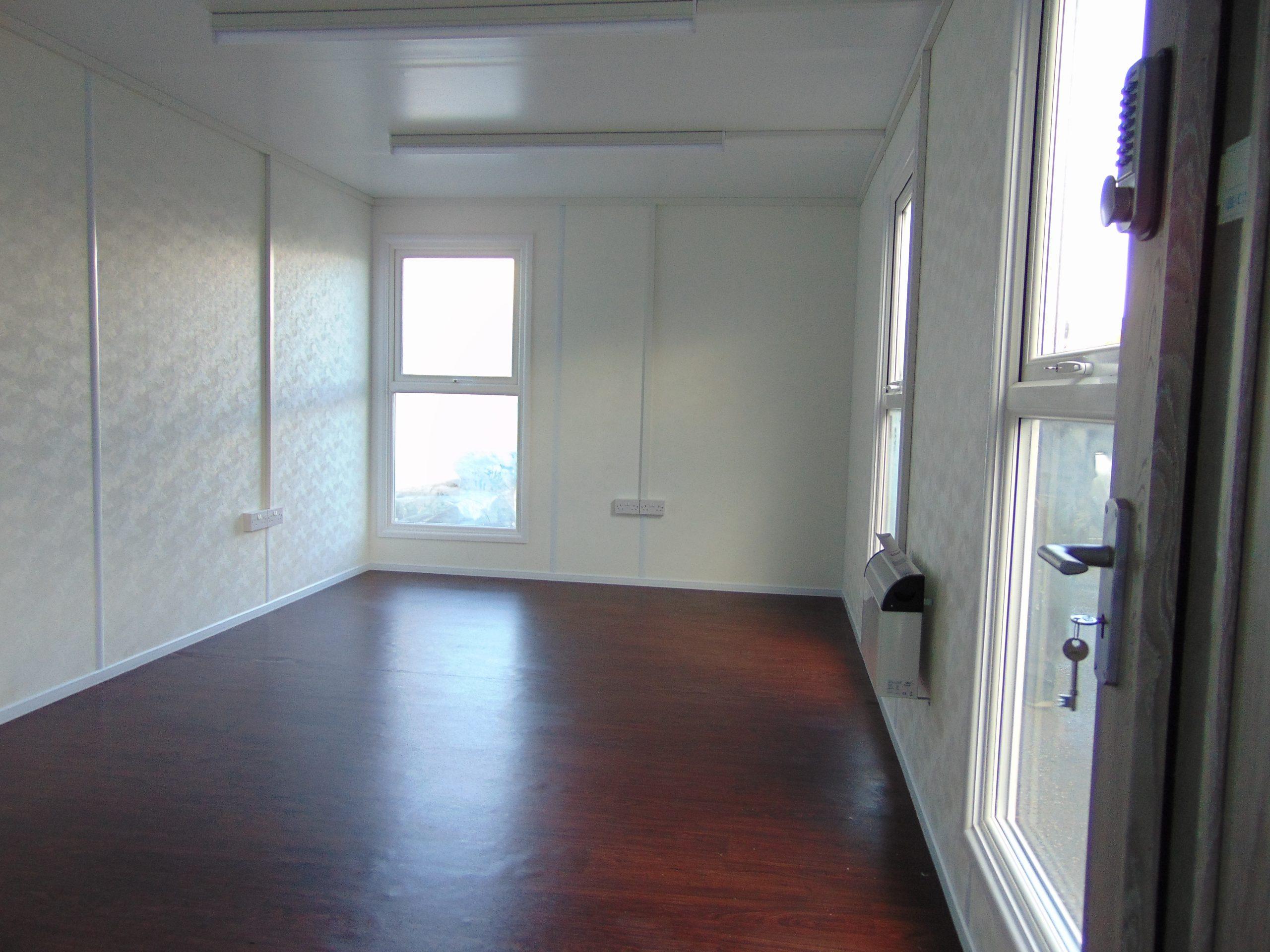 40' x 10' portable office cabin refurbishment, large double glazed windows