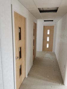 Modular Building, corridor, new doors